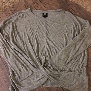 Grey textured twist waist tunic